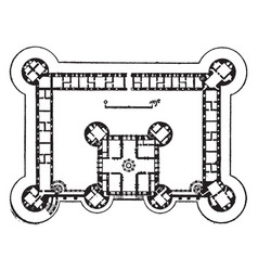 plan of chteau de chambord one of the most vector image