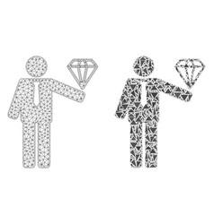 Polygonal 2d mesh groom diamond and mosaic icon vector