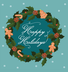 postcard with a christmas wreath and gingerbread vector image