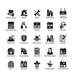 real estate glyph icons 4 vector image