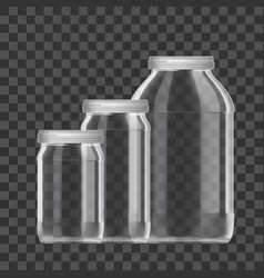 Realistic empty 3l glass jar set isolated on vector