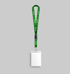 realistic green identity card lanyard mockup vector image