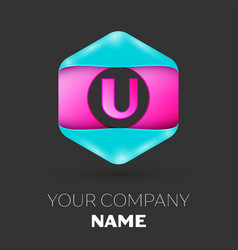 Realistic letter u logo in colorful hexagonal vector