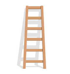 realistic wooden ladder on a white background vector image