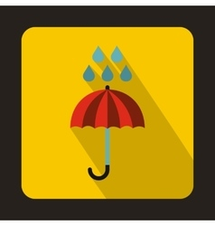Red umbrella and rain drops icon flat style vector image