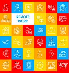 remote work line icons vector image