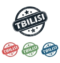 Round Tbilisi city stamp set vector
