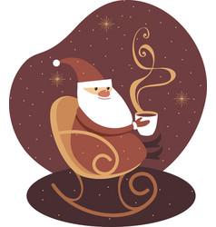 Santa claus holding big mug hot drink vector