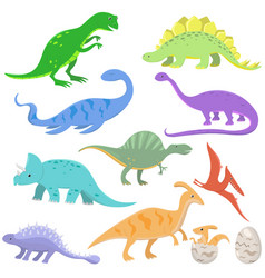 set color dinosaurs in cartoon style vector image
