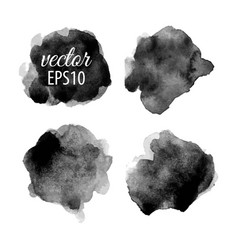 Set of abstract black ink blots vector