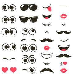 set of cartoon eyes and mouths vector image