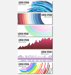 Set of six colorful abstract header banners vector