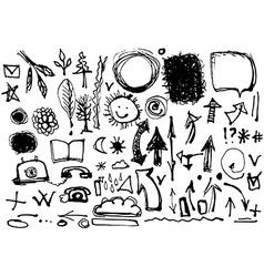 Sketch hand set drawings in ink symbols vector