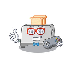 Smiley gamer bread toaster cartoon mascot style vector