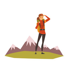 smiling young woman with backpack summer mountain vector image