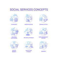 Social services concept icons set vector