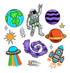 Space set design with planet and spaceman vector