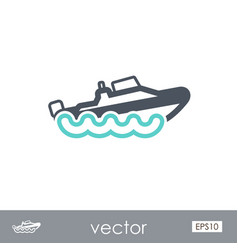 Speed boat outline icon summer vacation vector