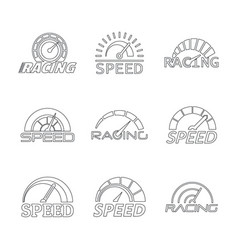 Speedometer level panel logo set outline style vector