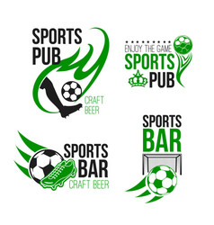 Sport pub icon with soccer ball and football gate vector