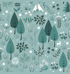 spring pattern with birds flowers and trees vector image