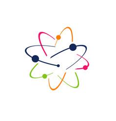 Symbol science research atom logo icon vector