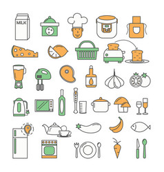 thin line art style design food icon set vector image