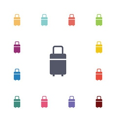 travel bag flat icons set vector image