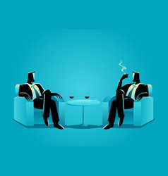 two businessmen sitting on sofa vector image