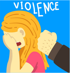 Violence man beating crying woman stop violence vector