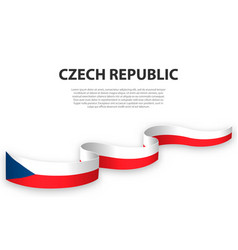 waving ribbon or banner with flag czech vector image