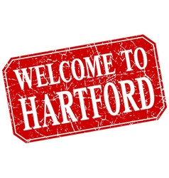 Welcome to hartford red square grunge stamp vector