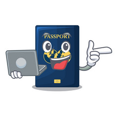 With laptop blue passport in the cartoon form vector