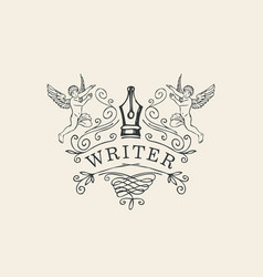 Writer logo or icon with nib and angels vector