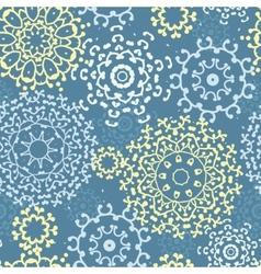 Yellow gray abstract mandalas seamless pattern vector