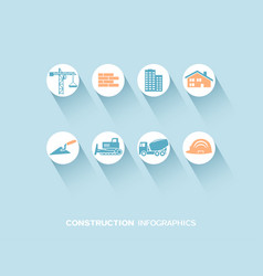 construction infographic with flat icons vector image vector image
