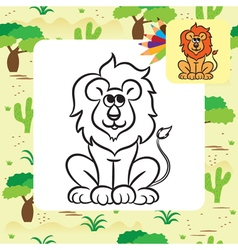 Lion coloring page vector