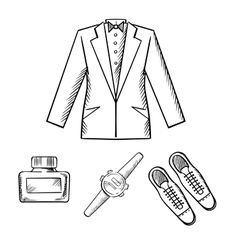 Male formal outfit with jacket shoes watch vector image