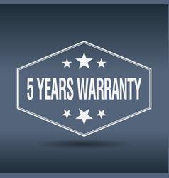 5 years warranty hexagonal white style label vector image vector image