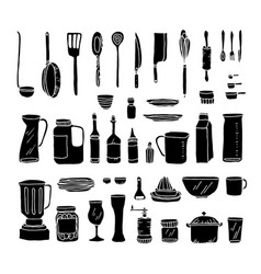 a set of kitchen objects vector image vector image