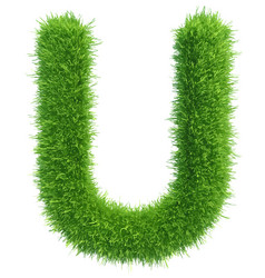 Capital letter u from grass on white vector