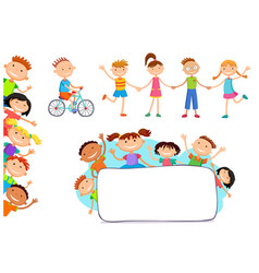 collection of happy children in different vector image vector image