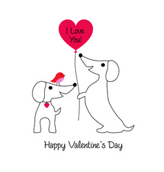 cute dachshund valentine with bird vector image vector image