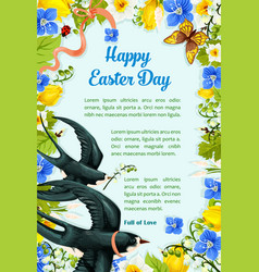 easter poster swallows paschal flowers vector image vector image