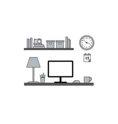 Homeoffice workstation - vektor flat style vector