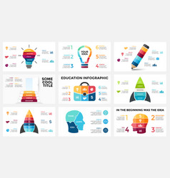 infographic set light bulb idea education vector image vector image