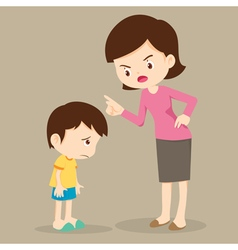 Mother angry at her son and blame vector image