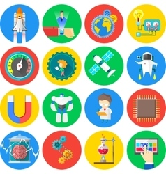 Technology and Science flat icons vector image vector image