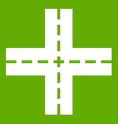 crossing road icon green vector image