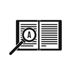 Magnifying glass over open book icon simple style vector image vector image